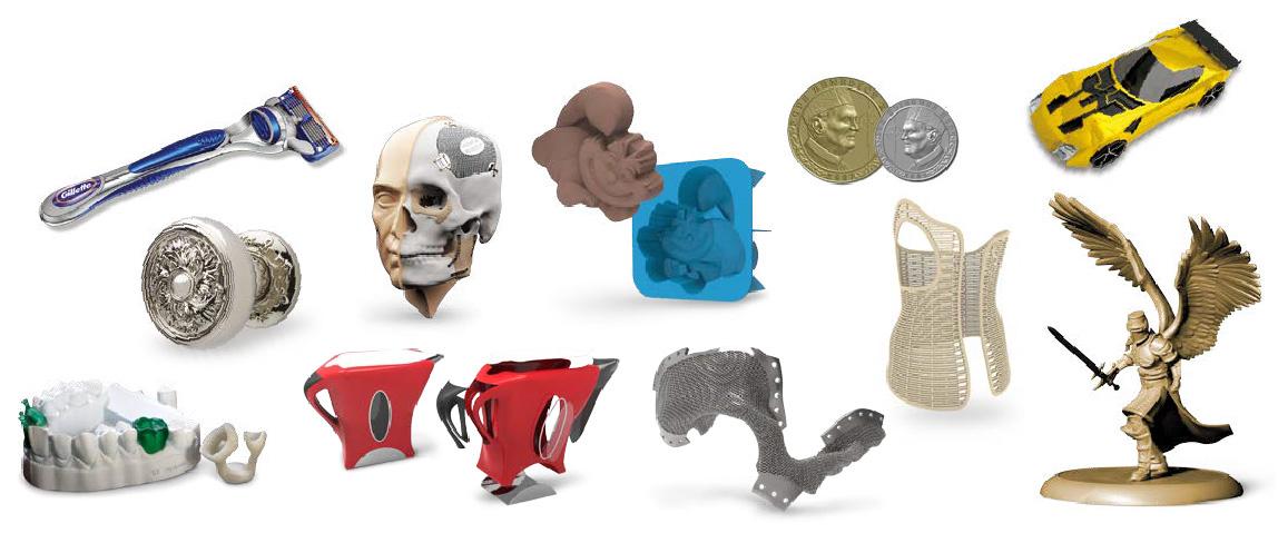 Exemplos de formas feitas com Freeform Software 3D